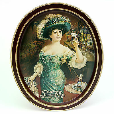 VTG Drink Pepsi Cola Delicious Healthful 5 Cent Oval Advert Tin Tray Gibson Girl