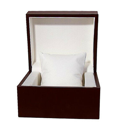 Retro Wine Red Wood Watch Box with Pillow Case Single Slots Travel Portable