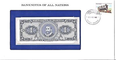 Nicaragua 1 Cordoba uncirculated  packaged banknote with stamp,cancellation