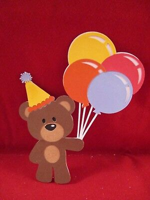 2 Birthday Bear With Balloons Die Cuts..........cardmaking.......scrapbooking
