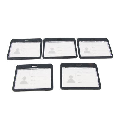 Set of 5pcs Badge Holders Open Double Sided Pick Card ID Card Pouches-Black