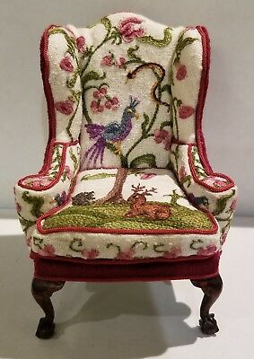 Rare 1980's Dollhouse Miniature Jean Strup & Betty Valentine Crewelwork Armchair