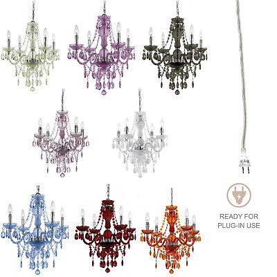 US/EU Plug-in Crystal Glass Ceiling Lamp Fixtures Chandelier Style Pendant Light