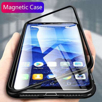 Magnetic Absorption Metal Bumper Glass Case Cover For Huawei Mate 20 Pro Lite