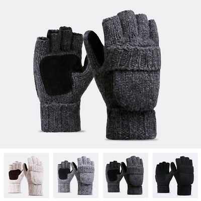 Men Women Winter Warm Cable Knit Thick Thermal Fingerless Gloves Flip Top Gloves
