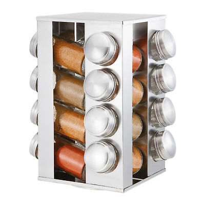 16 Piece Stainless Steel Kitchen Revolving Rotating Spice Rack Set Glass Jars
