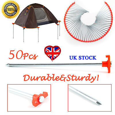 50x Hard Ground Rock Screw Drill In Steel Pegs Caravan Camping Tent Awning BEST