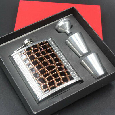 7oz Stainless Steel Hip Flask Wine Tube Whisky Alcohol Drinkware +Funnel+Cups