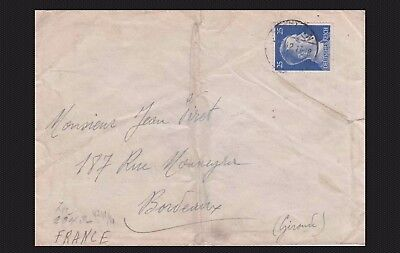 Bordeaux France Hitler 25 Deutsches 3Rd Reich Germany 1942 Cover Stamp Censored
