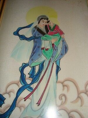 Vintage-Antique Chinese Painting On Silk; Mary & Baby jesus
