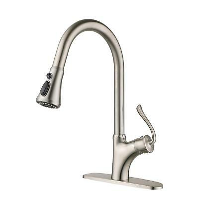 Single Handle Brass Kitchen Sink Faucet Pull Out Spray Brushed Nickel Finish