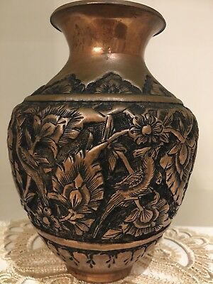 Amazing  Antique Persian Copper Handmade Vase With Flower And Bird Pattern