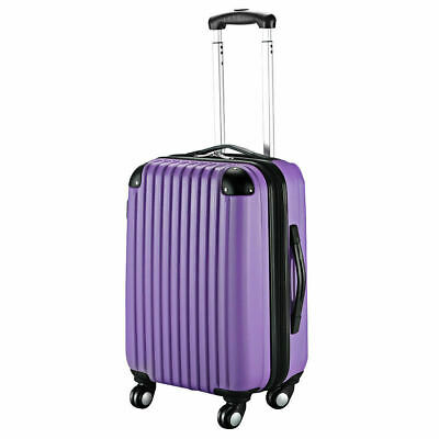 """GLOBALWAY 20"""" Purple ABS Carry On Luggage Travel Bag Trolley Suitcase Expandable"""