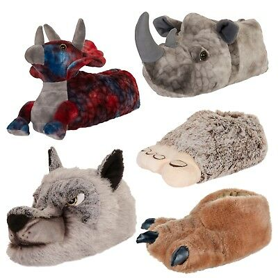 Mens Novelty Character Plush 3D Animal Slippers Booties Mules Boys Xmas Gift Siz
