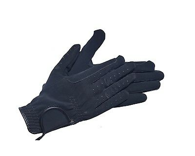 (Large, Black) - Riders Trend Nubuck Suede Horse Equestrian Riding Gloves