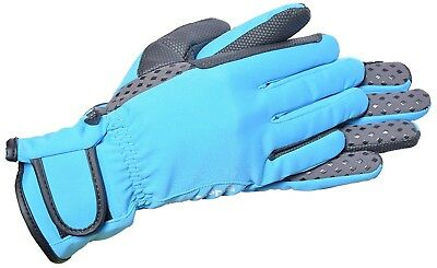 (Large, Grey/Sky Blue) - Riders Trend Waterproof Horse Winter Silicon Soft