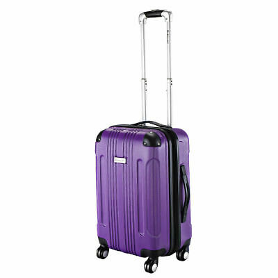 "GLOBALWAY Purple Expandable 20"" ABS Carry On Luggage Travel Bag Trolley Suitcase"