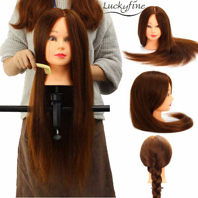 LuckyFine 100% Real Human Hair Wig Mannequin Head Hairdressing Training + Clamp