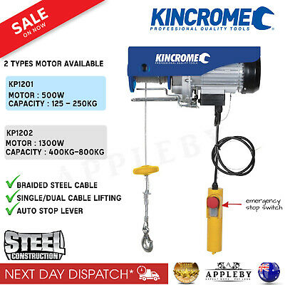 Kincrome Electric Lifting Hoist  Winch Tool 125-250KG / 400-800KG Steel Cable