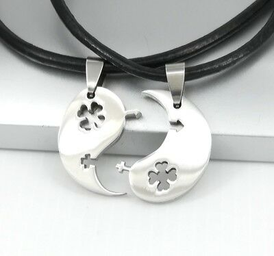 Silver Yin Yang Tai Chi Celtic Clover Pendant Black Leather Couple Necklace
