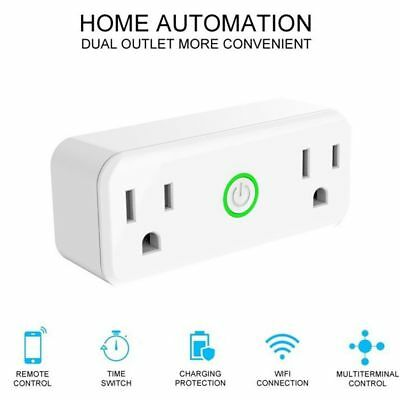 WiFi Smart US Plug Socket Dual Outlet Switch Works with Amazon Alexa Google Home