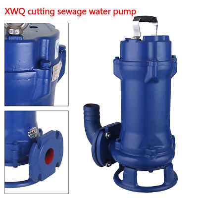 New 44GPM 1.5HP Sump Pump Industrial Sewage Cutter Grinder Cast Iron Submersible