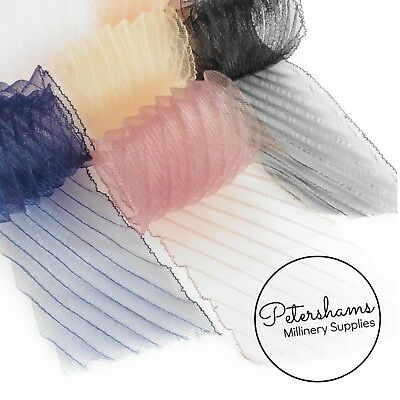 Diagonal Pleated Crinoline Strip (Crin, Horsehair Braid) for Millinery, Hats and
