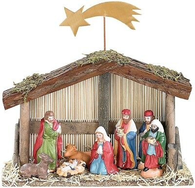 Pearl Nativity Scene Set of 10 Pieces with Hand-Painted Porcelain Figurines