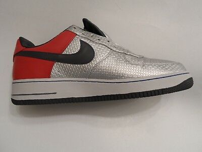 Nike Air Force 1 Mens Metallic Silver  Red Leather size 13 US (47.5 ER)