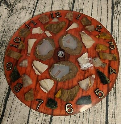 Vintage Clock Face, Resin Lucite With Rocks And Geodes