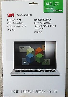 "3M 14"" Anti-Glare Filter AG14.0W9 14 inch WIDESCREEN Laptop or Monitor LED / LCD"