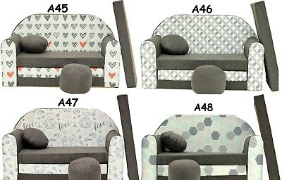 Kids Sofa Bed Sleepover Futon Cotton Cover With Footstool And Cushion
