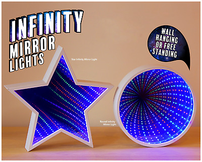 Infinity Mirror tunnel Light available in Star Shaped or Round