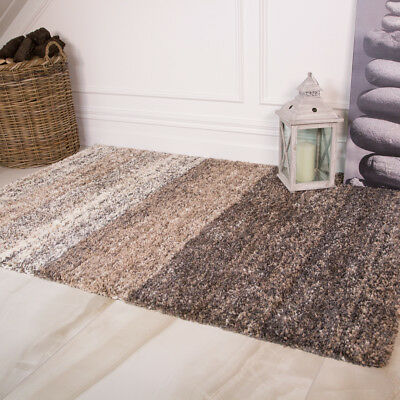 Modern Cosy Beige Striped Shaggy Rugs Fluffy Thick Mottled Non Shed Area Rug NEW