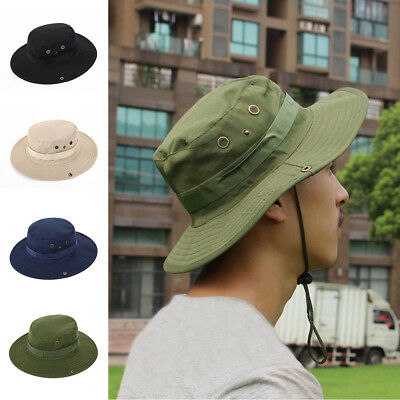 4b3a8a24500 Mans Mens Sun Shade Summer Wide Brim Bucket Cargo Floppy Hat Black Beige  Blue