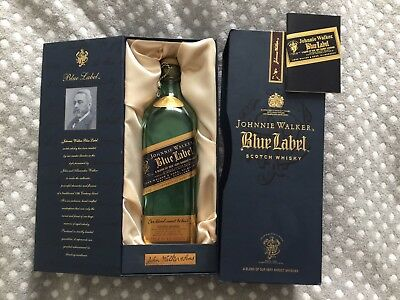 Johnnie Walker Blue Label EMPTY Scotch Whiskey Bottle & Satin Lined Box Booklet