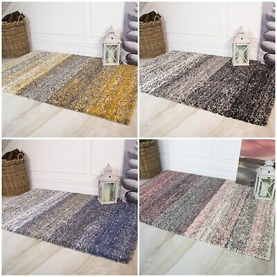 Modern Warm Cosy Ochre Grey Striped Shaggy Rugs Mottled Non Shed Shag Area Rug