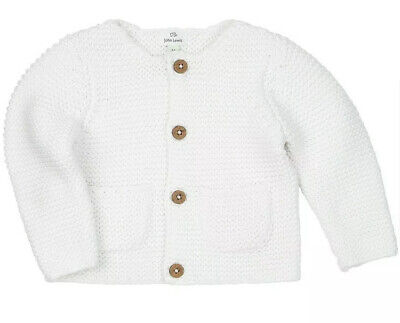 Baby Cardigan White NEW Knitted Ex John Lewis  Age  0 3 6 9 12  Months RRP £14
