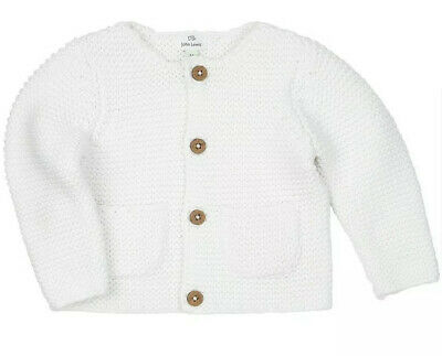 White Baby Cardigan. NEW Knitted. Ex John Lewis  Age  0 3 6 9 12  Months RRP £14