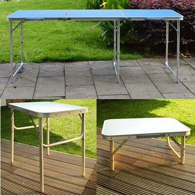 2ft 6ft Folding Table Heavy Duty Trestle Camping Party Picnic BBQ Stall Garden
