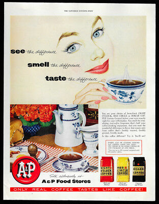 1953 Vintage Print Ad 50's A&P Food Stores woman drinking coffee illustration