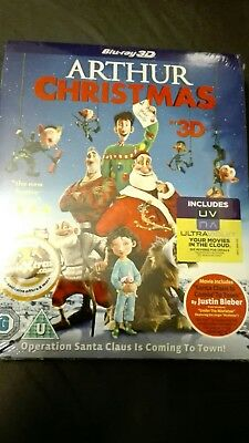 ARTHUR CHRISTMAS 3D BLURAY with SLIPCOVER - BRAND NEW FACTORY SEALED FREE UK P&P