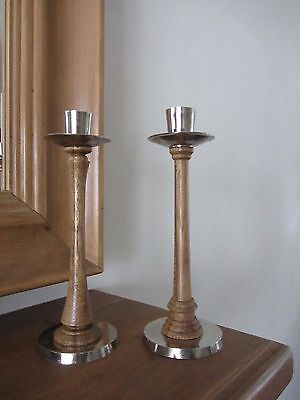 """Wooden & Metal Topped Candlesticks """"Good gently used Condition"""""""