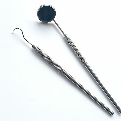 Professional Dental 2 Piece Probe-Pick Set Fig 23 + Mouth Mirror Steel Tool Kit