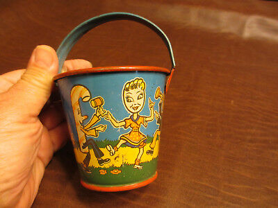 VINTAGE ANTIQUE 1930s 50s era DANCING MUSICAL CANDY BEACH SAND PAIL BUCKET TOY