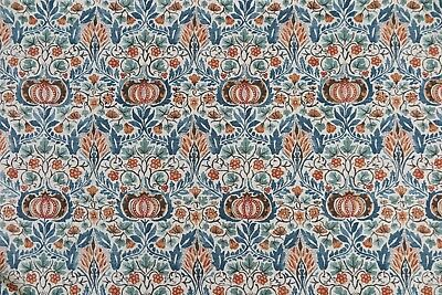 "WILLIAM MORRIS CURTAIN FABRIC DESIGN  ""Little Chintz"" 1.5 METRES TEAL & SAFFRON"