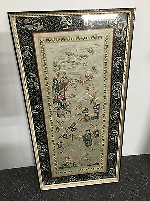 Vintage Silk Picture Panel Chinese Scene Hand Made 68cm X 34.5cm