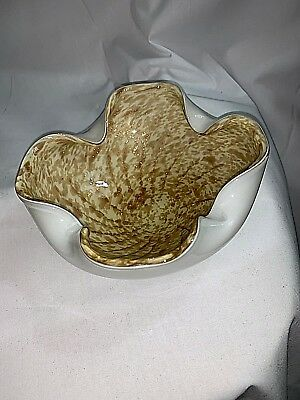Murano Art Glass Gold and White Cigar Ashtray Candy Bowl