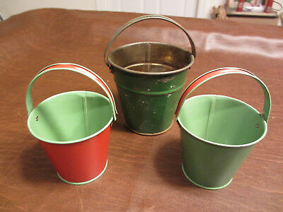 VINTAGE ANTIQUE 1930 50s era  KIDS SAND WATER PAIL TOY GROUP OF 3 CHILDS BUCKETS