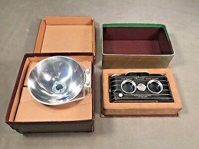 Viewmaster Stereo Camera w/ Flash Attachment f3.5 25mm Coated Original Boxes